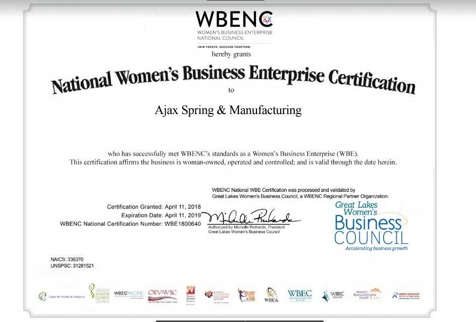 Ajax Gains WBE Certification – Ajax Spring
